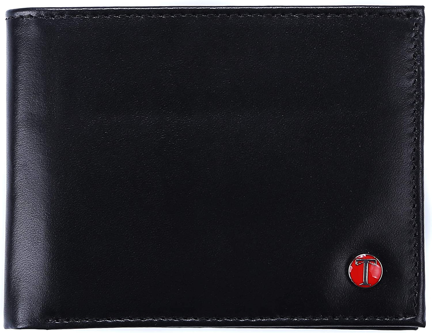 Tonywell RFID Blocking Trifold Mens Leather Wallet with 17 Pocket Extra Capacity ID Window Security Credit Card Holder Gift for Men (Black)