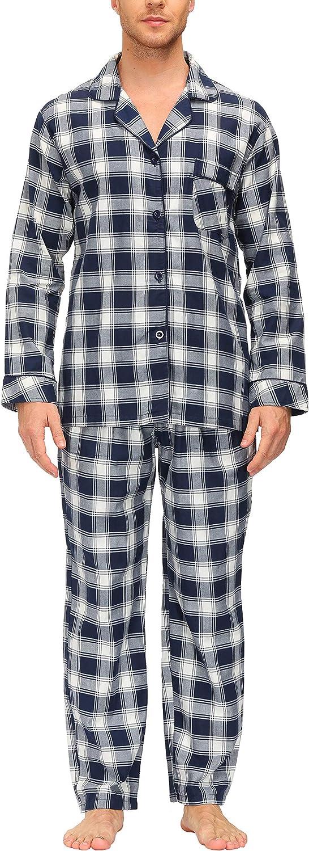 AjezMax Mens Pajama Set Plaid Long Pajama Pants Cotton Winter Weave Sleep Set