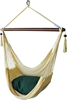 Caribbean Hammocks Chair with Footrest - 40 inch - Soft-Spun Polyester - (Cream)