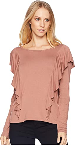 Long Sleeve Ruffle Knit Top