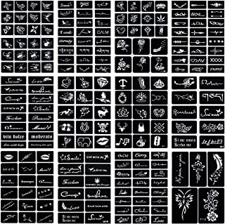 Oruuum 12 Style Indian Temporary Tattoo Template, Inkjet Tattoo Template, Tattoo Template, Body Painting Hollow (12Pcs).