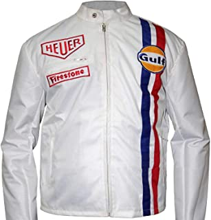 KAAZEE Gulf Le Mans Motercycle Driver Hi-Quality Grandprix White Leather Racing Jacket