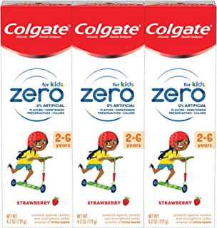 Colgate Zero Kids Toothpaste with Fluoride, Natural Strawberry for Ages 2-6 - 4.2 ounce (3 Pack)