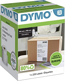 DYMO Authentic LW Extra Large Shipping Labels for LabelWriter 4XL Label Maker/Printer | 104mm x 159mm | Roll of 220 | Blac...