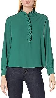Lark & Ro Women's Long Sleeve Ruffle Placket Button-Up Blouse, Emerald, 6