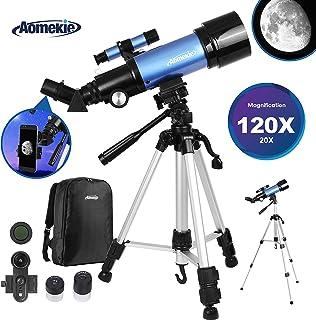 Aomekie Telescopios Astronomicos 70/400 Telescopios Niños Profesional con Adaptador de Teléfono 10X Mochila Trípode Ajustable Filtro de Luna y Lente 3X Barlow