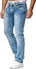 OneRedox Herren Jeans Denim Slim Fit Used Design Modell