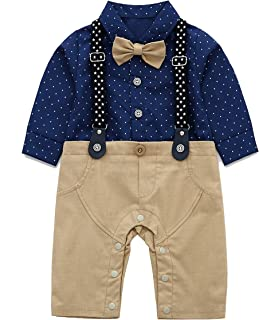 baby onesie with tie and suspenders