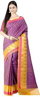 ساري Chandrakala للنساء مزيج قطني ريشام عمل ساري هندي تقليدي مع بلوزة غير مخيطة، أرجواني (1386PUR)