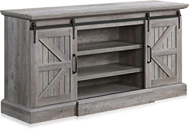 """BELLEZE Ashford 60"""" Farmhouse Universal Stand Console Fit TV's Up to 65"""" Living Room Storage Barn Doors and Shelv"""