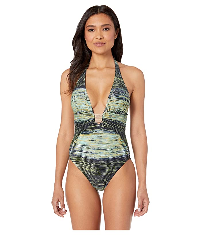 Vince Camuto Hardware Plunge Halter One-Piece with Removable Soft Cups (Deep Sea) Women