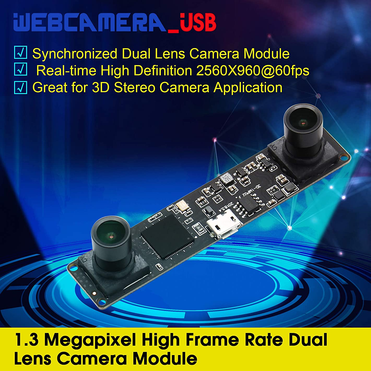 Dual Lens Stereo Camera Mini Industrial USB2.0 Webcam Module,Synchronized Web USB Security Camera for 3D VR,People Counting System,Stereoscopic Computer Vision,Webcam Module for Android,Linux,Windows