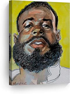 Smile Art Design Bearded Black Man by Kenney Mencher, African American Portrait Watercolor Painting Canvas Print Living Room Decor Wall Art Bedroom Home Decor Artwork Ready to Hang Made in USA- 36x24
