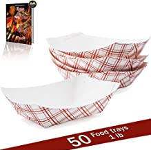 Disposable Paper Food Tray | Red Plaid Kraft | Taco Basket, Hot Dog Boats, French Fry Holders, Serving Boat | For Parties, Fast Food, Snack Eating | USA Made, Recyclable | Bulk 50pc | Small