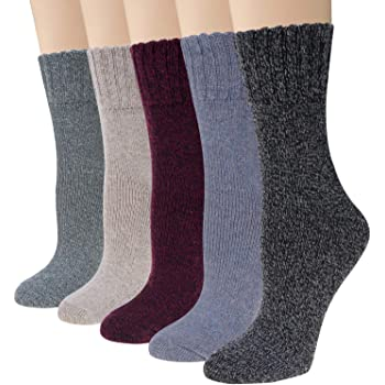 Justay 5 Pairs Winter Womens Wool Socks Vintage Warm Socks Thick Cozy Socks Knit Casual Crew Socks Gifts for Women