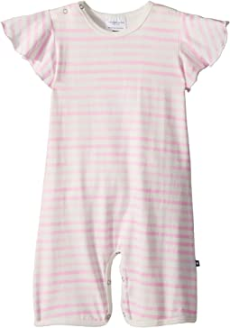 Toobydoo - Pink Stripe Wing Sleeve Shortie Jumpsuit (Infant)