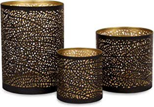 Set of 3 Black and Gold Metal Decorative Hurricane Candle Holders with 3 complimentary Pine Scented Votive tealight Candle...