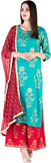 Ortange Women's Rayon Gold Printed Kurta And Palazzo With Printed Dupatta set (Blue)