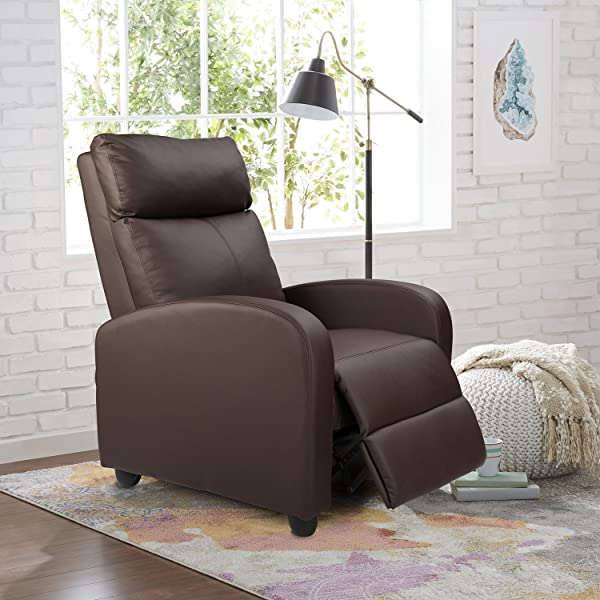 Homall Single Recliner Chair Padded Seat PU Leather Living Room Sofa Recliner Modern Recliner Seat Club Chair Home Theater Seating Brown