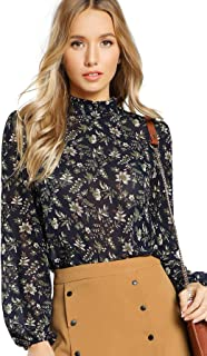 Women's Floral Print High Neck Puff Long Sleeve Chiffon Blouse