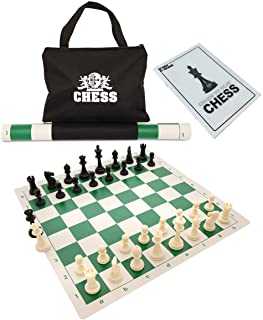 WE Games Best Value Tournament Chess Set - Staunton Chess Pieces and Green Roll-Up Vinyl Chess Board