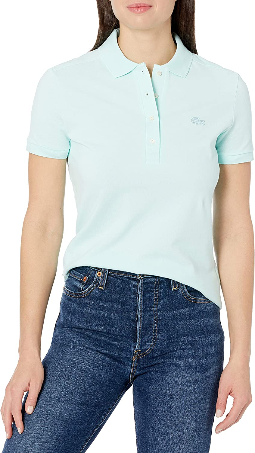 Lacoste Women's Short Sleeve Slim Stretch Chicago Mall Pique Shirt quality assurance Polo Fit