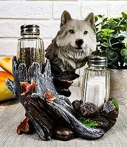 Ebros Gift Full Moon Lone Alpha Gray Wolf Glass Salt & Pepper Shakers Holder Figurine Decor 6.5