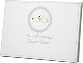 Elegance Wedding Guest Book with Double Rings