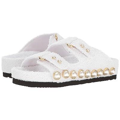 Suecomma Bonnie Jewel Ornament Cotton Slide Sandal (White) Women