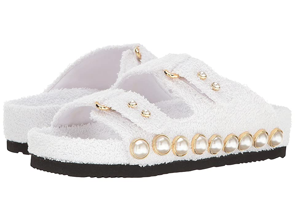 Suecomma Bonnie Jewel Ornament Cotton Slide Sandal (White) Women