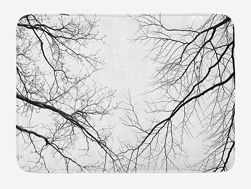 K0k2t0 Doormats Forest Bath Mat, Trees Branches Leafless Spooky Scary Image in a Gloomy Air Sky Scene Image, Plush Bathroom Decor Mat with Non Slip Backing, 23.6 W X 15.7 W Inches, Black and White lv480862688