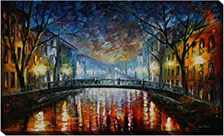 Picture Perfect International Giclee Stretched Wall Art by Leonid Afremov Misty Bridge Artists-Canvas, 28