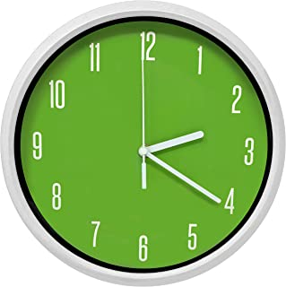 Essentially Yours Large 12 Inch Non Ticking Modern Wall Clock with Silent Sweeping Movement, Battery Operated and Included |Bedroom, Living Room, Office Décor, Green