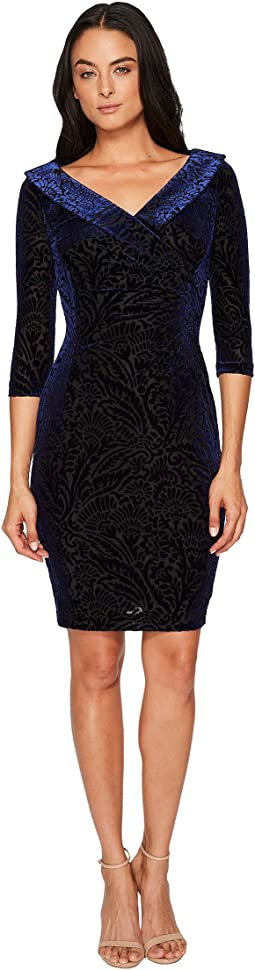 Tahari by ASL - Velvet Burnout Shirred Sheath