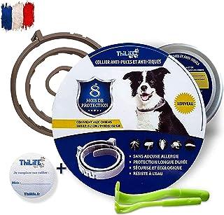 Thilife - Collier Ajustable Anti puces et Anti Tiques pour Chien + 8kg| Antiparasitaire |8 Mois de Protection | Offert 2 P...