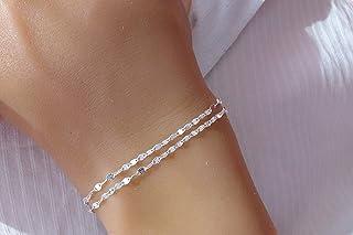 Bracelet multi chaines - Argent 925 - Bracelet double - Chaine fantaisie - Bracelet fin - 2 chaines - Cadeau femme fille
