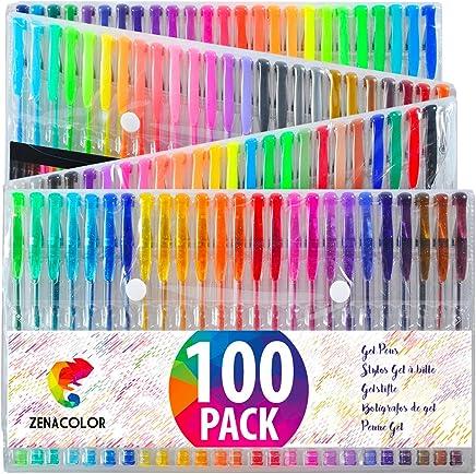 100 Bolígrafos de Gel Zenacolor con Estuche - Set Extragrande - 100 Colores Unicos - Con Tinta de Flujo Continuo de Calidad Superior - Libros de Coloración para Adultos