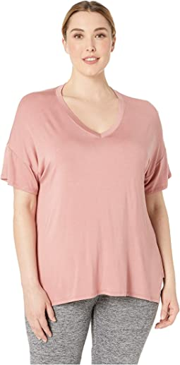Plus Size Side Splits V-Neck Bopo T-Shirt