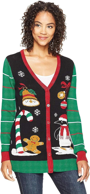 Ugly Christmas Sweater Company Women's Assorted Xmas Cardigan Sweaters, Black Xmas Icons Cardigan, Small