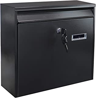 Piowio Outdoor Wall-Mounted Lockable Post Letter Mail Box with Viewing Window (Black 36 * 10 * 32cm)