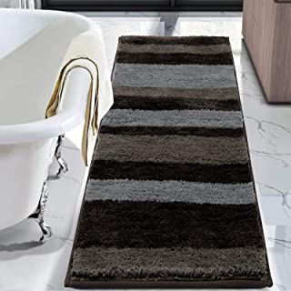 "HEBE Bathroom Rugs Runner Water Absorbent Soft Microfiber Shaggy Bath Mat Machine Washable Bath Rugs for Bathroom, 24""X60""..."