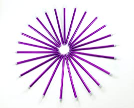 C Sal 24 Count Birthday Long Cake Candles | Metallic Purple Birthday Candles in Holders for Birthday Cakes Decorations