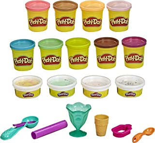 Play-Doh Ice Cream Theme 13-Pack of Non-Toxic Modelling Compound for Children 3 Years and Up With Colour Burst Plus 6 Tool...