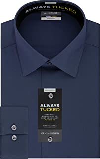 Men's Always Tucked Stretch Solid Regular Fit Dress Shirt