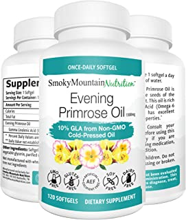 Evening Primrose Oil 1300mg (120 Softgels) 10% GLA from Cold-Pressed EPO Oil. Hexane-Free with No fillers or Artificial Ingredients; Non-GMO & Gluten Free