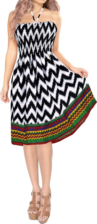 LA LEELA Women's Plus Size Tube Dress Bohemian Casual Dress Cover Ups Printed B