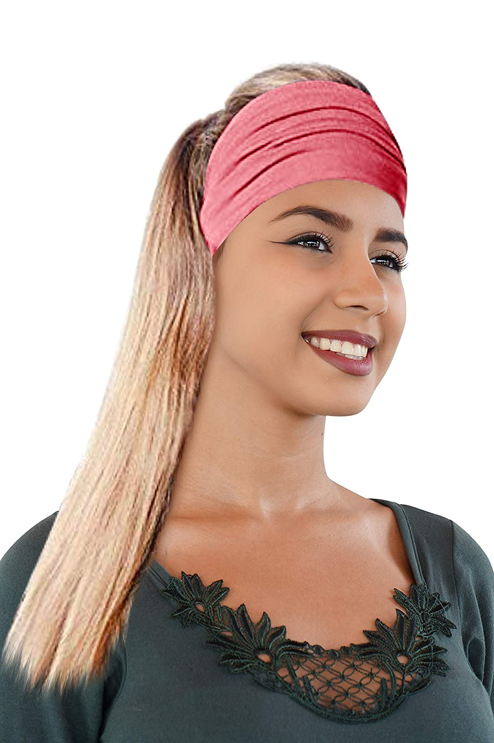 Novarena Original Multi Style Headband For Women Yoga Fashion Workout Running Athletic Travel. Wear Wide Turban Knotted + More | 15 Colors (Baby Pink)