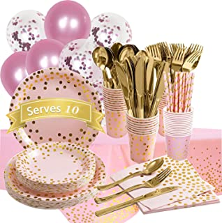 Moonmen Party Supply Set Disposable Tableware with Balloon, Foil Paper Plates Napkins Cups Straws for Weddings, Anniversar...