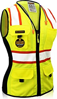 KwikSafety (Charlotte, NC) FIRST LADY Safety Vest for Women | Class 2 ANSI OSHA PPE | High Visibility Heavy Duty Mesh Pock...