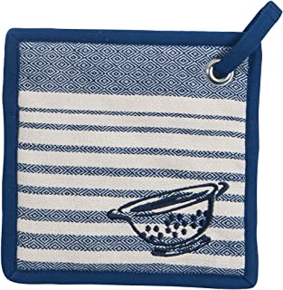 Kay Dee Designs Cook's Kitchen Birdseye Woven Embroidered Potholder with Grommets, Cobalt
